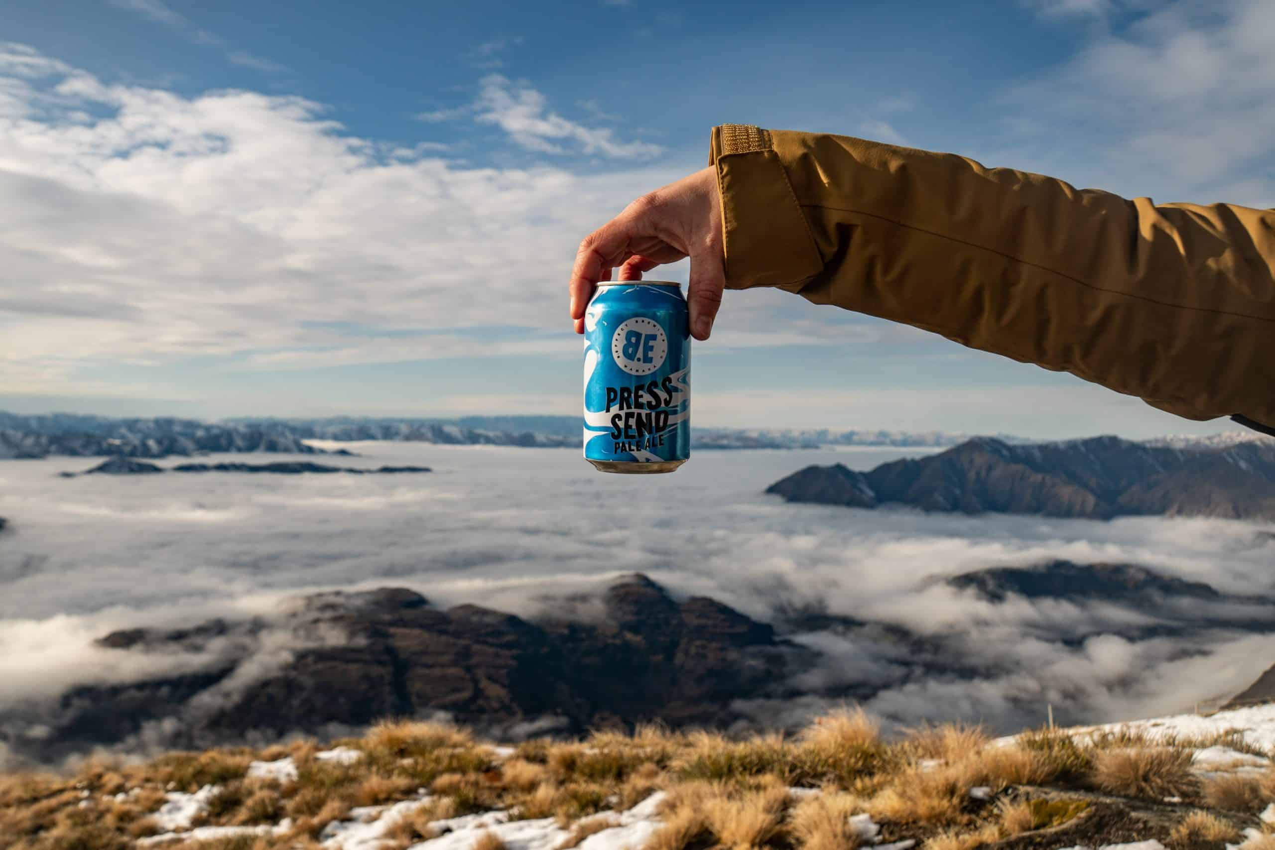 b.effect Press Send Pale Ale Craft Beer in scenic Wanaka mountains